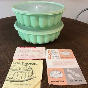 Vintage 1975 Tupperware 2 Jello Molds Mint Green